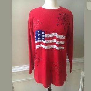 Quacker Factory Sequins American Flag Sweater